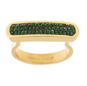 Anillo Dorado y Cristal Verde