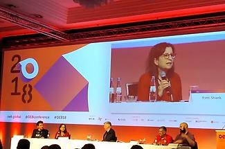 Patti onscreen at Online Educa debate 2018