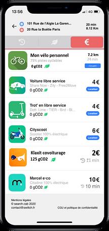 Application Search Mobility, comparateur de mobilité green, idéal pour le forfait mobilité durable