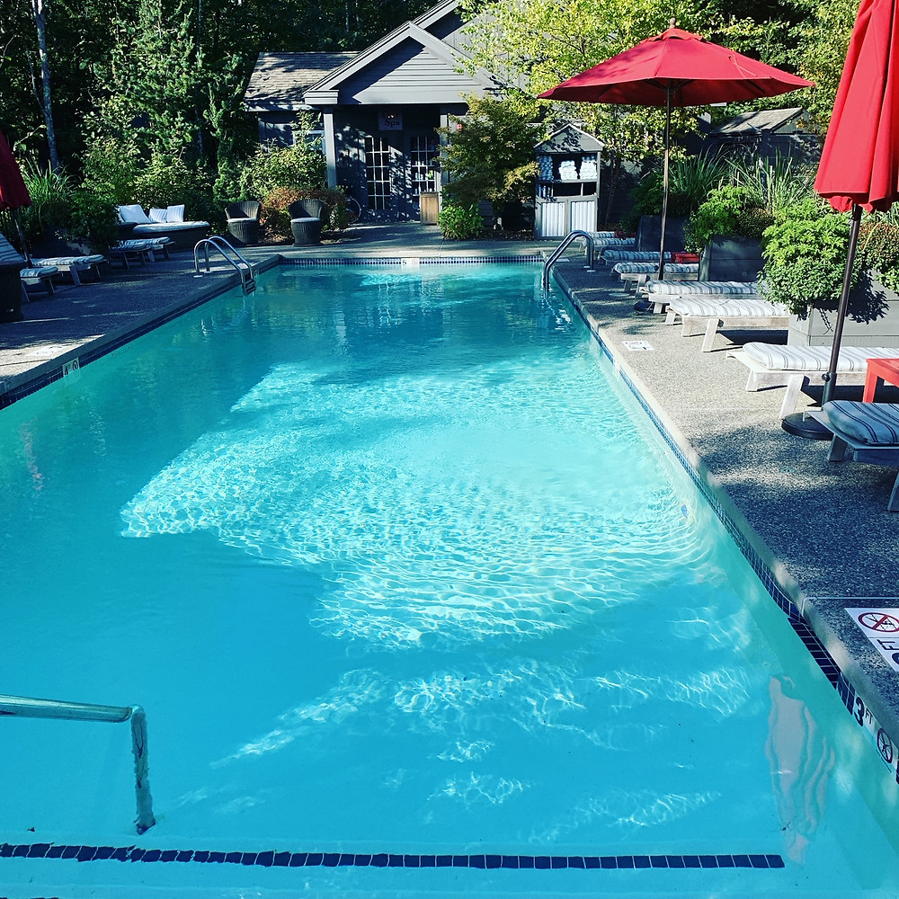 The heated, saltwater pool at Hidden Pond in Kennebunkport, Maine, where the Tree Top Spa is located.