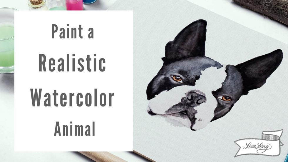 Paint a Realistic Watercolor Boston Terrier