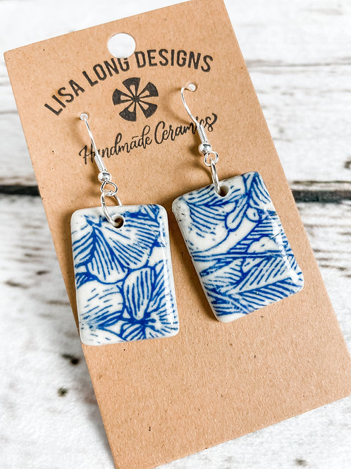 Blue and White Floral Earrings | French Hook