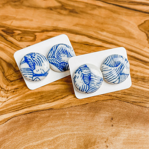 Blue and White Floral Earrings   Studs