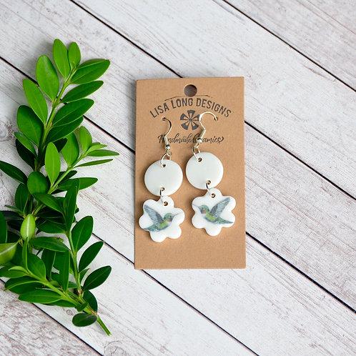 Dangly Scalloped Hummingbird Earrings