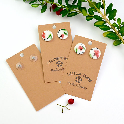 Circle Red & Green Floral Studs