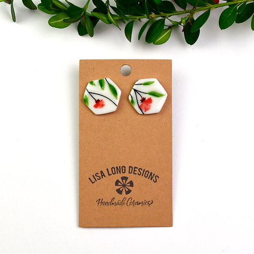 Floral Red & Green Large Hexagons