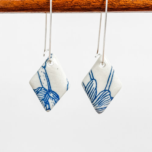 Blue and White Floral Earrings | Drop Hooks