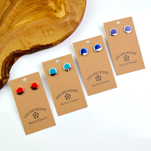 Colorful Small Hexagon Studs