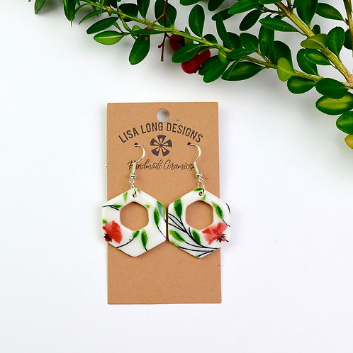Red & Green Floral Hexagon Hoops