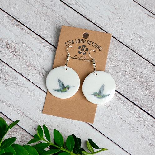 Circle Hummingbird Earrings