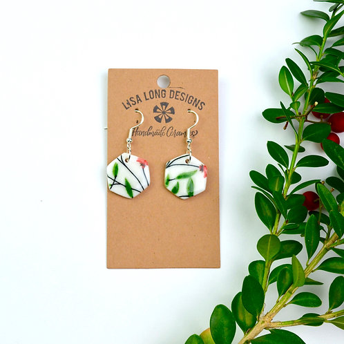 Dangle Red & Green Floral Hexagons