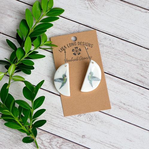 Half Circle Hummingbird Earrings
