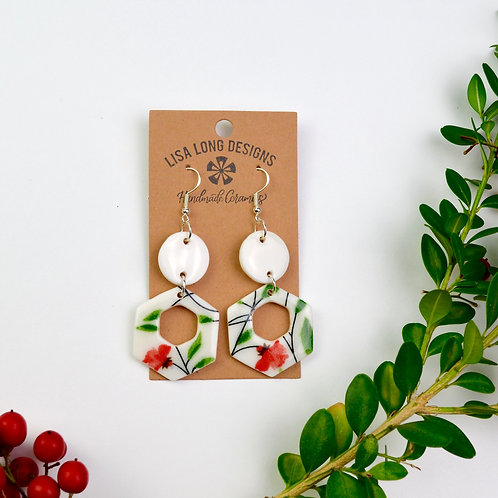 Unique Dangle Earrings Red & Green Thicker Hollow Hexagons