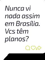 Balão de chat mostrando comentário de pessoa pedindo uma loja autônoma da Zaitt em Brasília
