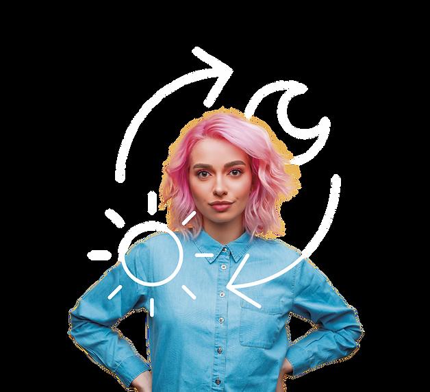 Garota jovem de estilo e cabelo moderno e tecnológico. Ao redor dela, ícones que simbolizam o mix de produtos da Zaitt.