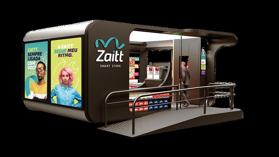Homem de terno usando smartphone e QR code para entrar em uma das loja autônomas da Zaitt, a primeira smartstore da América Latina