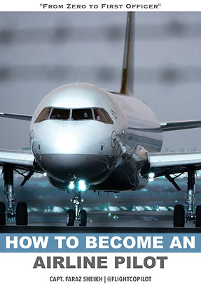Cover for the book on how to become an airline pilot written by author and airline pilot Faraz Sheikh for future aspiring aviators and pilots. The book gives details on what to expect during your flight training, how to fund your ATPL flight training, preparing for your airline pilot interview and selection and a lot more.