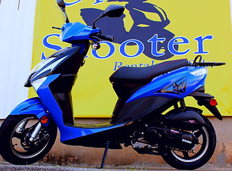 Blue Scooter for Rent at Uptown Scooter in Columbus, GA