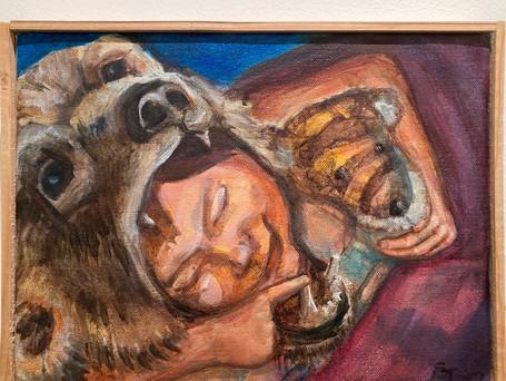 """""""Baby Bear""""  9x12 acrylic on canvas, 2020"""