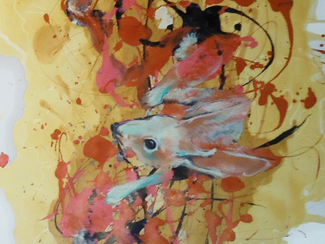 David 30x22 acrylic and latex paint on w