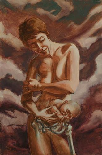 """Bone Cradle"" 45x30 acrylic on canvas, 2016"