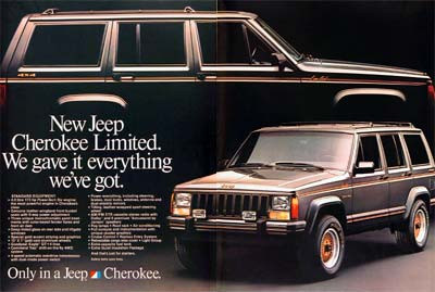 Jeep Cherokee XJ Limited-Around 1987 with the new venerable High Output 4.0 in-line six. A similar one appears prominently in the movie Ronin but as a stick shift with the old 2.5 liter in-line four
