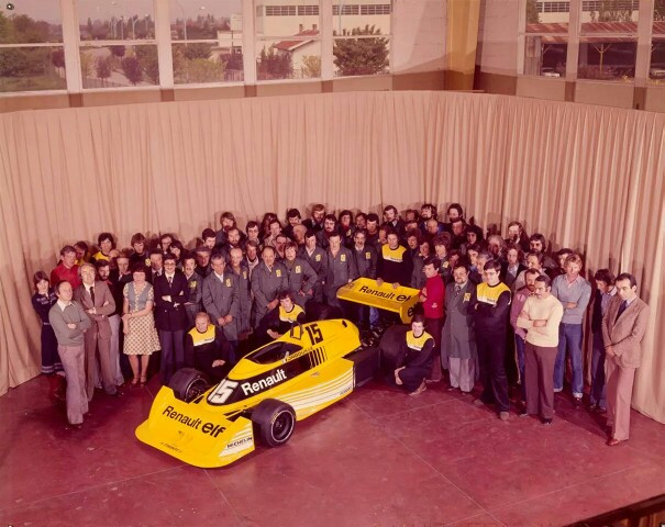 The Renault Sport Team with thier Teapot and Francois Castaing on the far left.