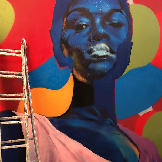Jomad artiste peinture portrait street art graffiti mur andrew agutos malakoff france