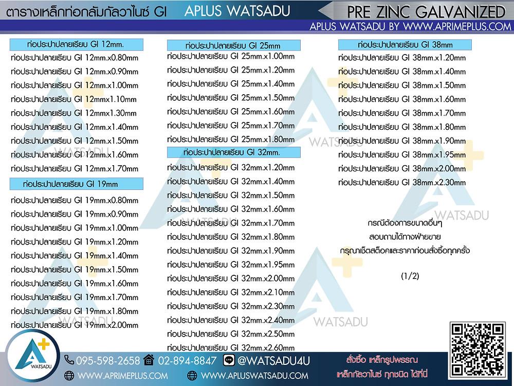 ตารางขนาดเหล็กท่อกลมกัลวาไนซ์ที่มีจำหนาย เอพลัสวัสดุ 099-2546869 ขนาดเหล็กท่อกลมต่างๆ สามารถสอบถามเพิ่มเติมได้ที่ฝ่ายขาย หรือ ทักไลน์บัญชทางการได้ที่ Line ID: watsadu4u  หรือ email: sale@aprimeplus.com