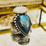 Labradorite ring with moonstone. 100% ha