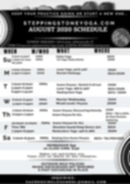 Stepping Stone Yoga Studio AUG Schedule