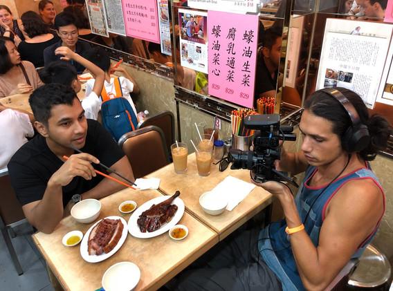 SD Media team filming at Yat Lok Goose restuarant