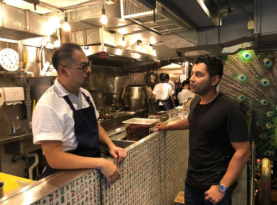 Sashi and Chef Jowet Yu talk it up at the iconic Ho Lee Fook restaurant