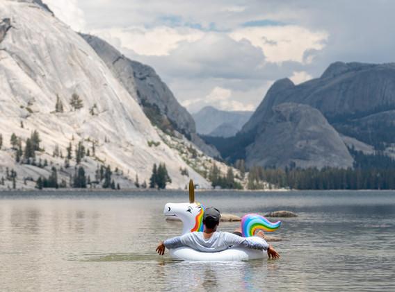 Taking a breather at Tenaya Lake, California