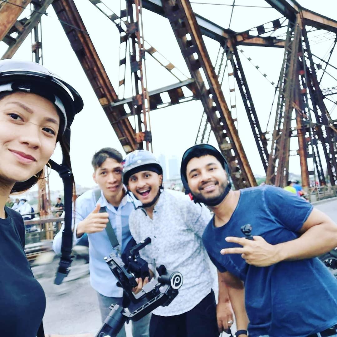The Max Foodie Vietnam team at the iconic Long Bien bridge!