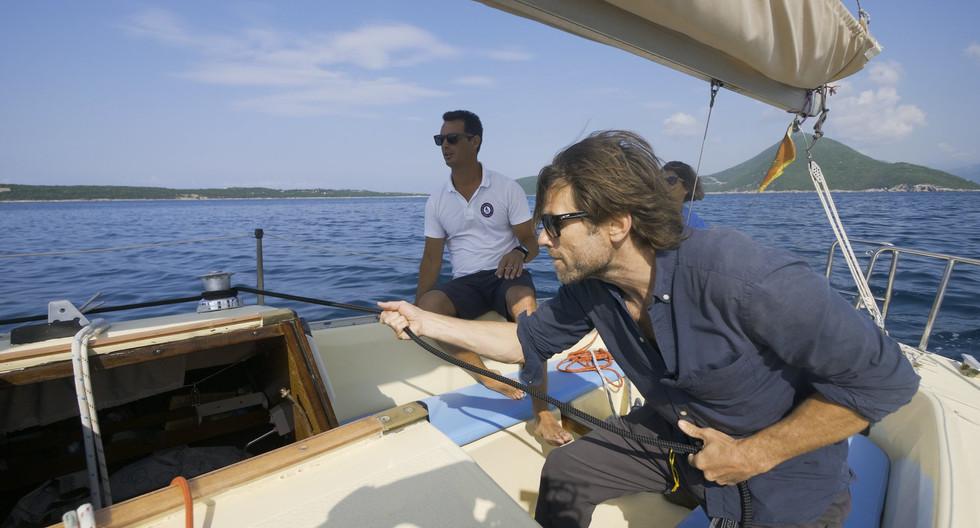 Learning tacking and gybing at Kotor Bay, Montenegro