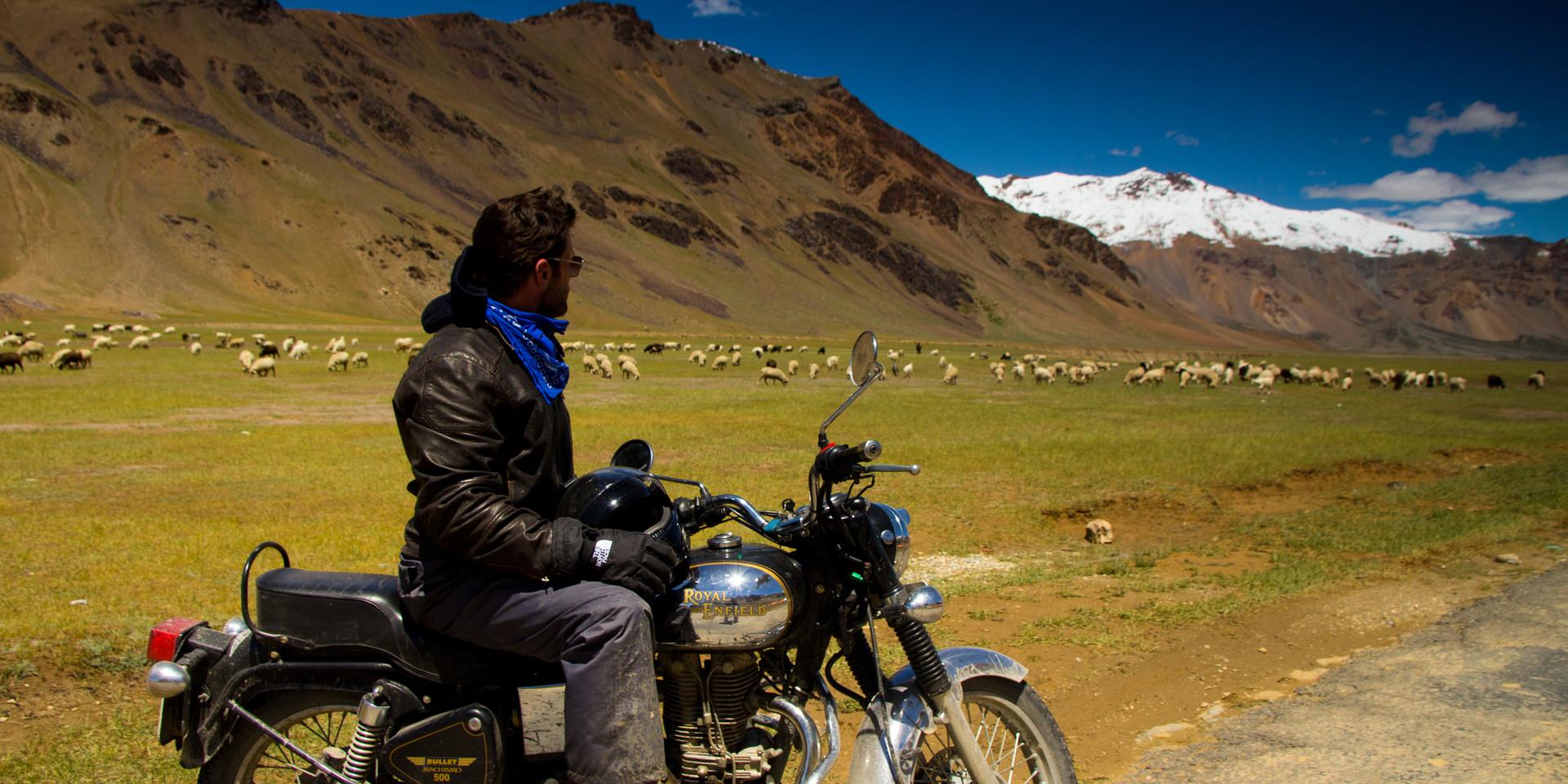 The epic Manali-Ladakh trip on a Royal Enfield motorcycle.