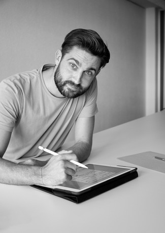 Beard, Black-and-white, Chin < Labels < Diego Alborghetti, Desk, Electronic device, Facial hair, Laptop, Monochrome, Photography < Labels < Diego Alborghetti, Sitting, Stock photography, Style, Writing