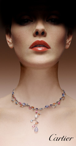 Beauty; Body jewelry; Cartier; Cheek; Chin; Choker; Close-up; Diamond; Diego Alborghetti; Ear; Face; Fashion; Fashion accessory; Fashion design; Gemstone; Jewellery; Labels; Lip; Logos; Metal; Model; Neck; Necklace; Skin