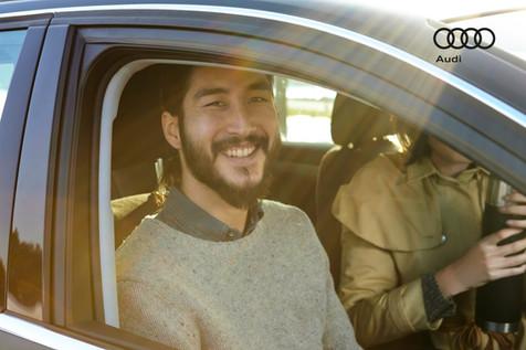 Audi; Auto part; Automotive exterior; Automotive window part; Car; Diego Alborghetti; Driving; Faces; Family car; Headwear; Joy; Labels; Logos; Smile; Vehicle; Vehicle door; Window