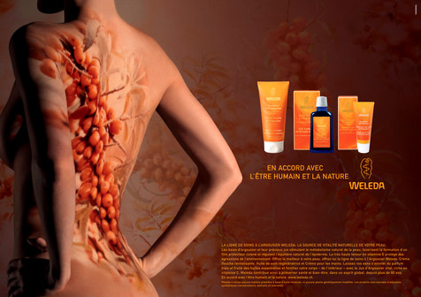Advertising; Diego Alborghetti; Flesh; Human; Human anatomy; Human body; Labels; Logos; Neck; Orange; Weleda