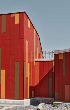 Architecture < Labels < Diego Alborghetti, Building, Colorfulness, Design, Facade, Home, House, Interior design, Line, Material property < Labels < Diego Alborghetti, Orange, Pattern, Red, Room < Labels, Wall