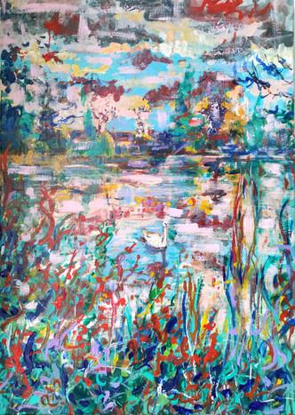 Loin, près de l'étang