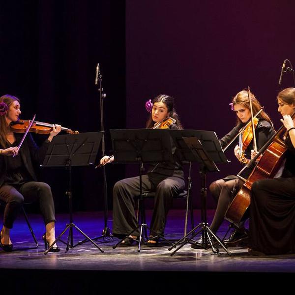 String quartet performance at Teatro Isabel La Católica, Granada, 2018