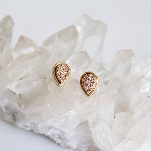 Teardrop Rose Gold Druzy Earrings