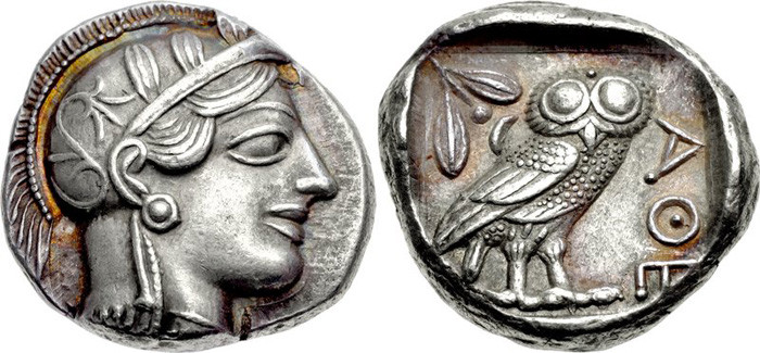 An Athenian Tetradrachm from after 499 BCE