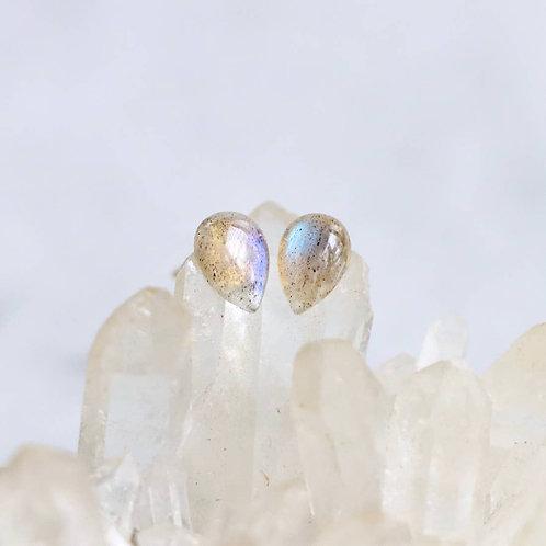 Labradorite Stud Earrings - Teardrop