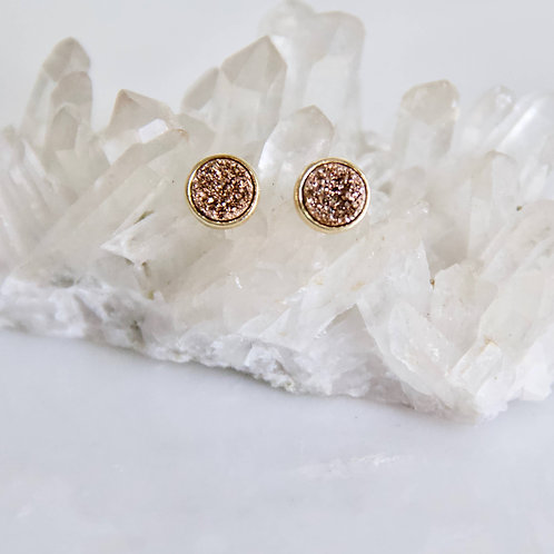 Rose Gold Titanium Druzy Stud Earrings - Gold