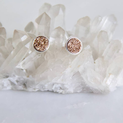 Rose Gold Titanium Druzy Stud Earrings - Silver