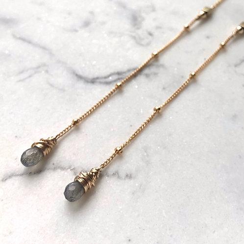 Labradorite Wrapped Threader -14K Gold-Filled